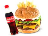 Zobrazit detail - VELKÉ MENU Burger Trio cheeese + hranolky + cocacola 0,5 l
