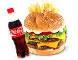 Zobrazit detail - VELKÉ MENU Cheeseburger + hranolky + cocacola 0,5 l